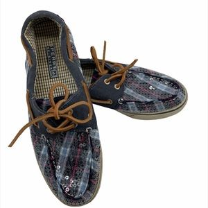 Sperry's top Sider plaid sparkle boat shoes